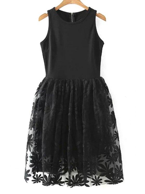Encaje empalmado cuello redondo vestido sin mangas - Negro M