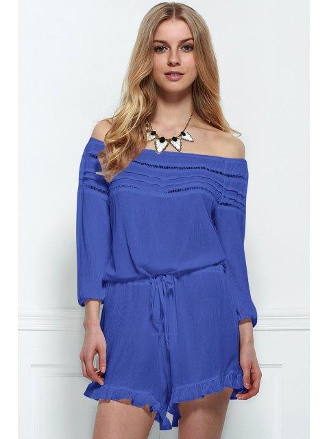 lady Off-The-Shoulder Drawstring Design Romper - BLUE L Mobile