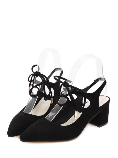 latest Slingback Lace-Up Pointed Toe Pumps - BLACK 36 Mobile