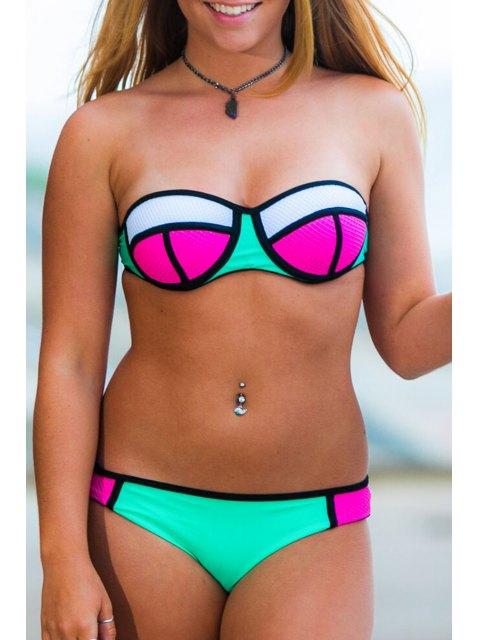 fashion Spaghetti Strap Plaid Color Block Bikini Set - GREEN M Mobile