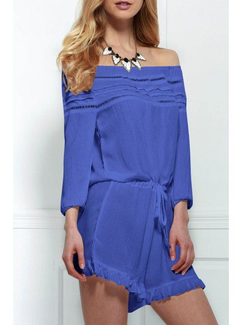 women's Off-The-Shoulder Drawstring Design Romper - BLUE S Mobile