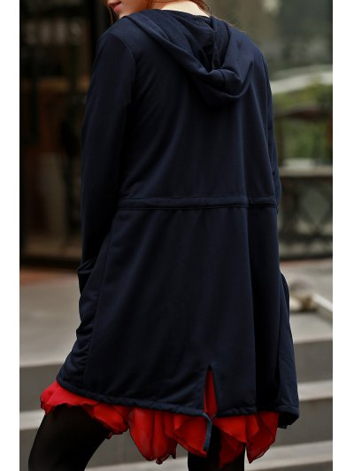 Solid Color Hooded Long Sleeve Drawstring Coat - BLACK S Mobile