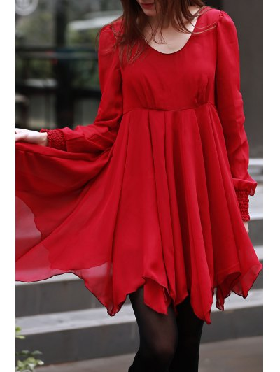 Hollow Scoop Neck Long Sleeve Chiffon Dress - RED L Mobile