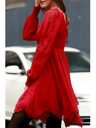 Hollow Scoop Neck Long Sleeve Chiffon Dress - RED XL Mobile