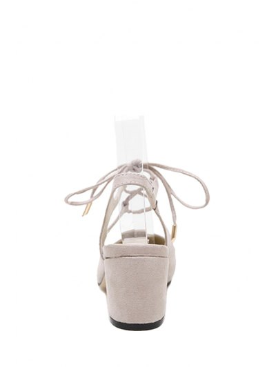 Slingback Lace-Up Pointed Toe Pumps - APRICOT 37 Mobile