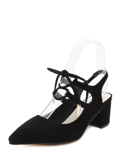 Slingback Lace-Up Pointed Toe Pumps - BLACK 36 Mobile