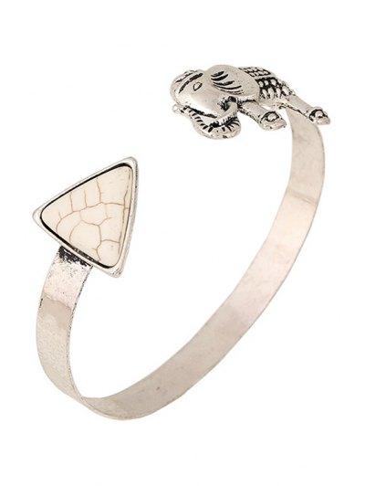 Elephant Turquoise Cuff Bracelet - WHITE  Mobile