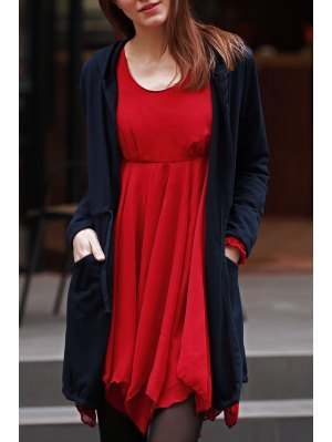 Solid Color Hooded Long Sleeve Drawstring Coat - Black