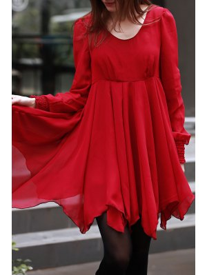 Long Sleeve Chiffon Flowing Dress - Red