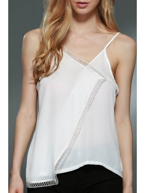 Lace Spliced Cami White Tank Top - White