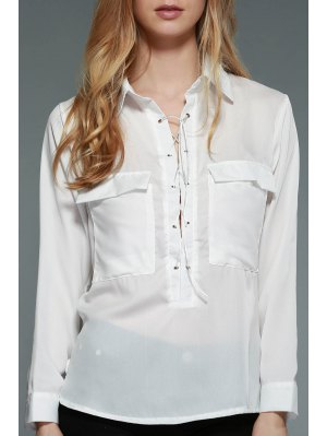 White Lace-Up Plunging Neck Long Sleeve Chiffon Sheer Blouse - White