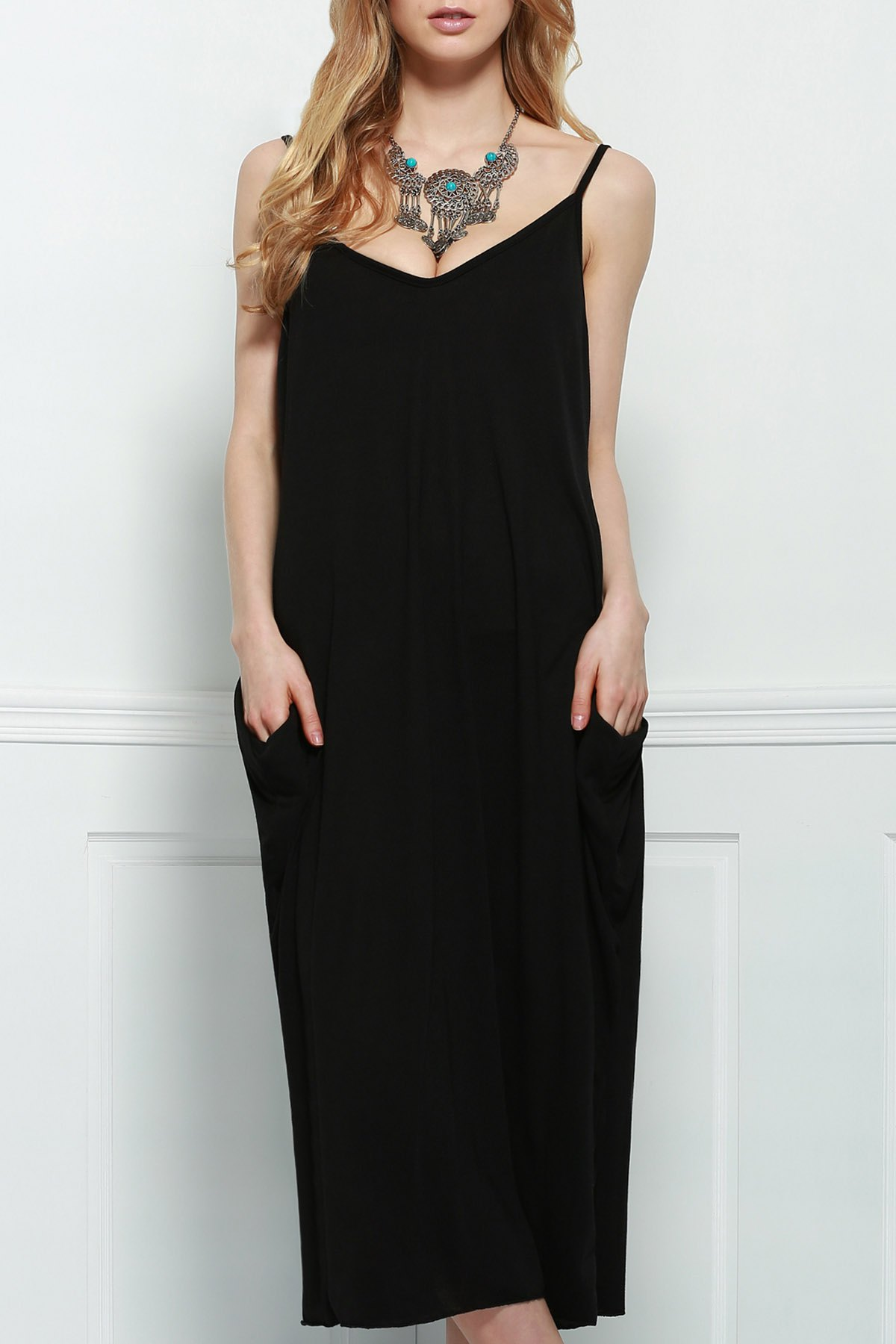 Spaghetti Strap Solid Color Loose-Fitting Maxi Dress