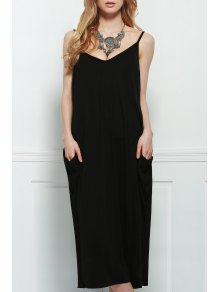 Spaghetti Strap Loose-Fitting Maxi Dress - Black