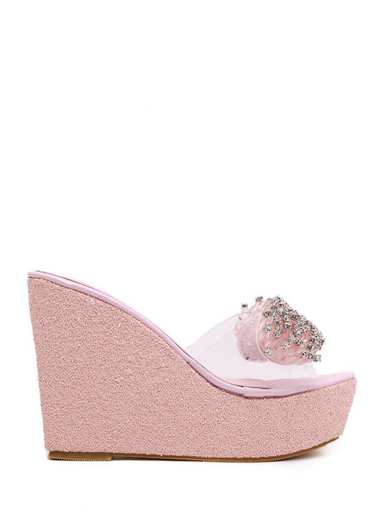 shop Rhinestone Transparent Wedge Heel Slippers - PINK 38