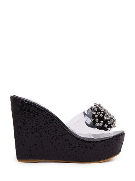 Strass Wedge Transparent Pantoufles talon - Noir 39