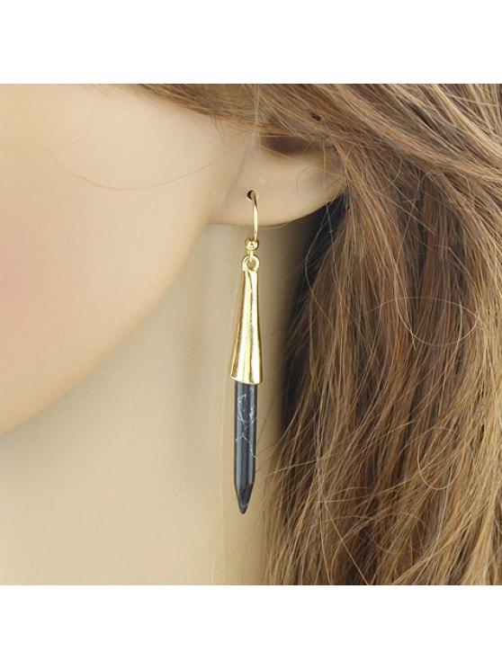 Pair of Alloy Faux Turquoise Pen Shape Earrings - BLACK  Mobile
