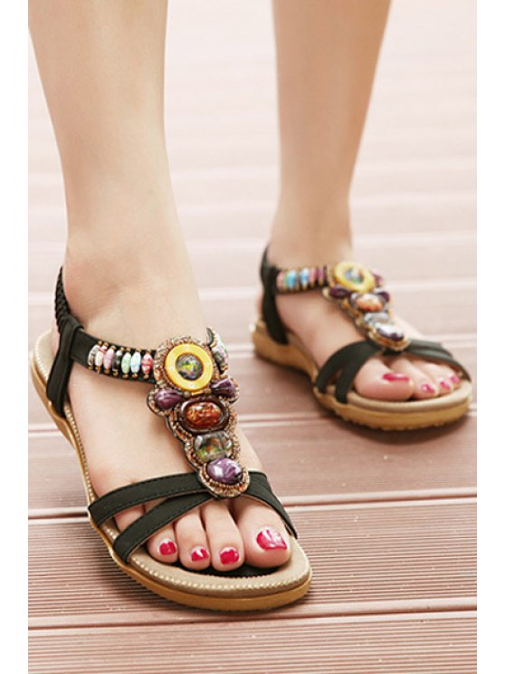 Faux Gem Elastic Flat Heel Sandals - BLACK 40 Mobile