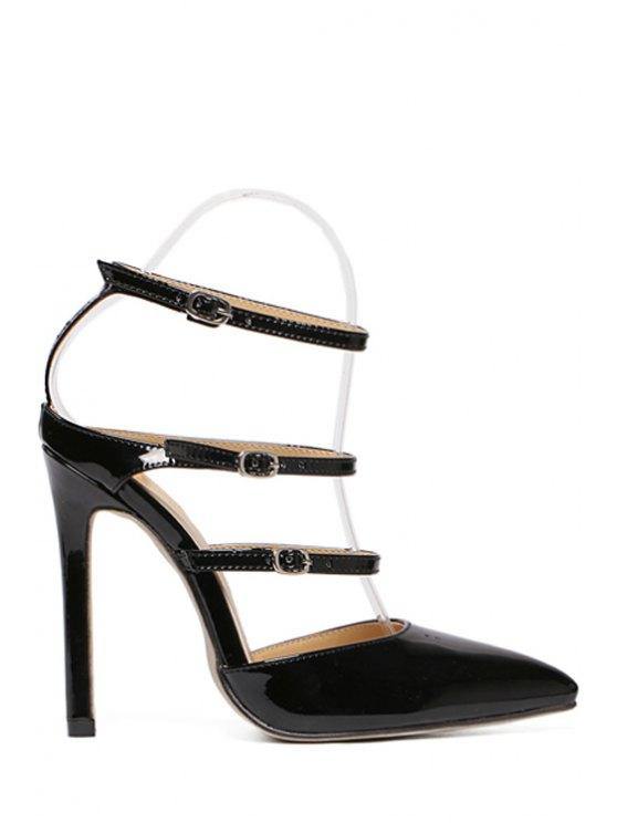 shops Solid Color Buckles Pointed Toe Sandals - BLACK 39
