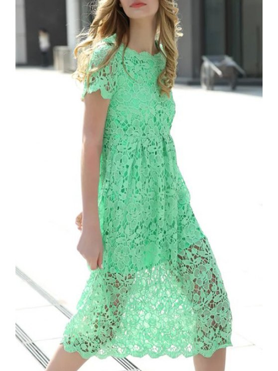 Crochet Flower Green Dress GREEN: Lace Dresses S