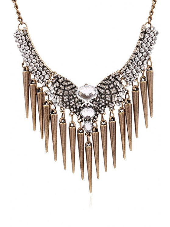 Faux Crystal Rhinestone Cone Fringed Necklace - COPPER COLOR  Mobile