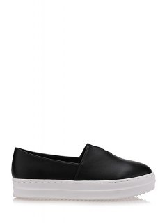 Round Toe Slip-On Flat Shoes - Black 38