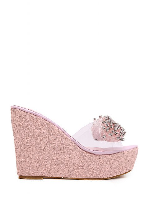 shop Rhinestone Transparent Wedge Heel Slippers - PINK 38 Mobile