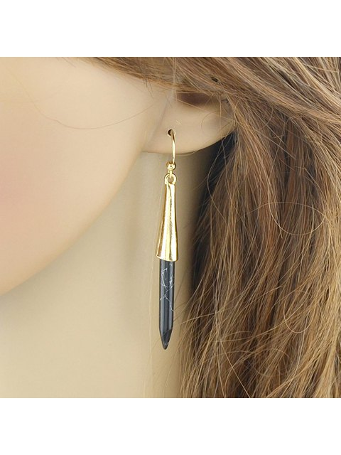 affordable Pair of Alloy Faux Turquoise Pen Shape Earrings - BLACK  Mobile