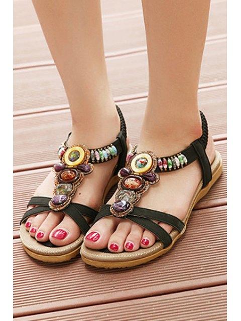 new Faux Gem Elastic Flat Heel Sandals - BLACK 40 Mobile