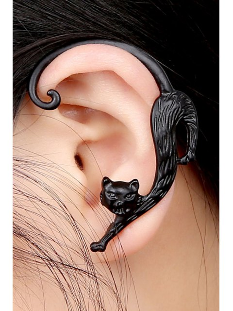 ladies ONE PIECE Retro Kitten Shape Earring - BLACK  Mobile