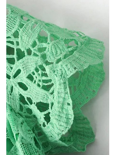 women's Crochet Flower Green Dress - GREEN M Mobile