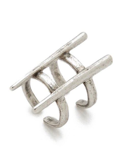 women Two Layered Rivet Cuff Ring - SILVER ONE-SIZE Mobile