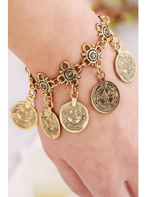 shops Alloy Coin Tassel Bracelet - GOLDEN  Mobile