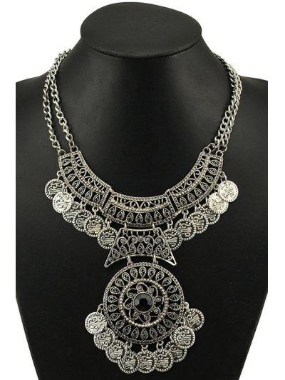 Vintage Round Coin Necklace - SILVER  Mobile