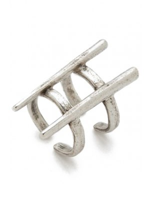 Two Layered Rivet Cuff Ring - Silver