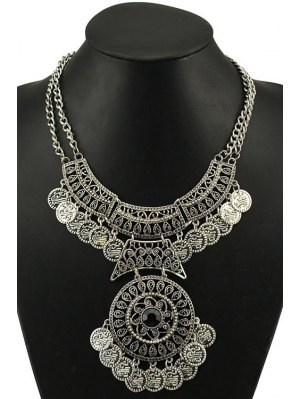 Vintage Round Coin Necklace - Silver
