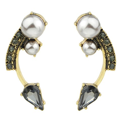 Pair of Chic Faux Pearl Decorated Arc Shape Earrings For Women