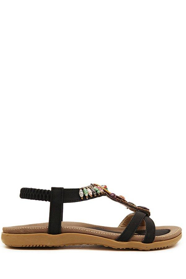 Faux Gem Elastic Flat Heel Sandals