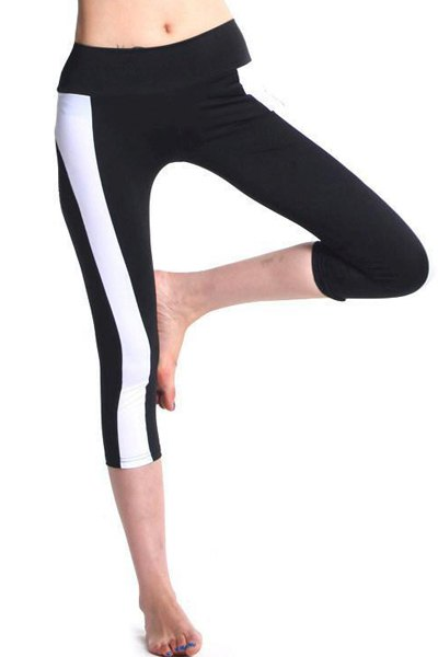 Elastic Waist Color Block Bodycon Women's Cropped Yoga Pants
