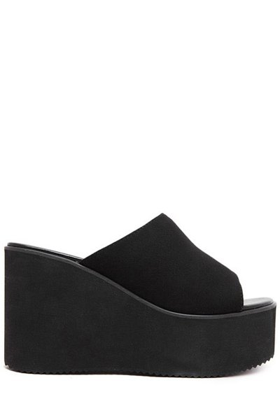 Black Flock Wedge Heel Slippers