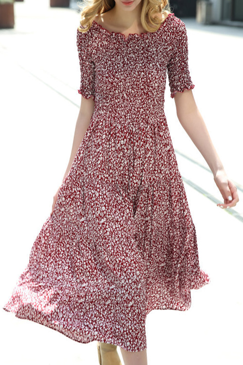 Boat Neck Short Sleeve Tiny Flower Print Dress