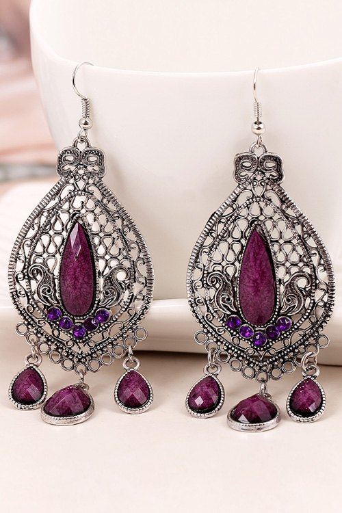 Bohemia Faux Crystal Water Drop Earrings
