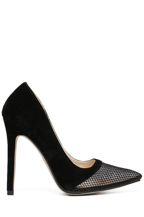 Mesh Splicing Stiletto Heel Pumps