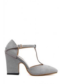 Flock T-Strap Chunky Heel Pumps - Gray 38