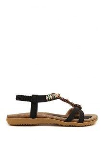 Faux Gem Elastic Flat Heel Sandals - Black