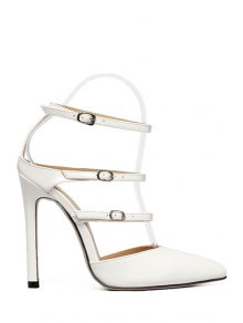 Buy Solid Color Buckles Pointed Toe Sandals - WHITE 39