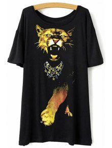 Animal Print Black T-Shirt