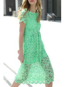 Crochet Flower Green Dress - Green S