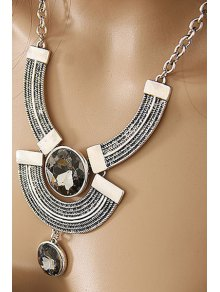 Round Faux Crystal Metal Arc Necklace