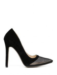 Mesh Splicing Stiletto Heel Pumps - Black 39