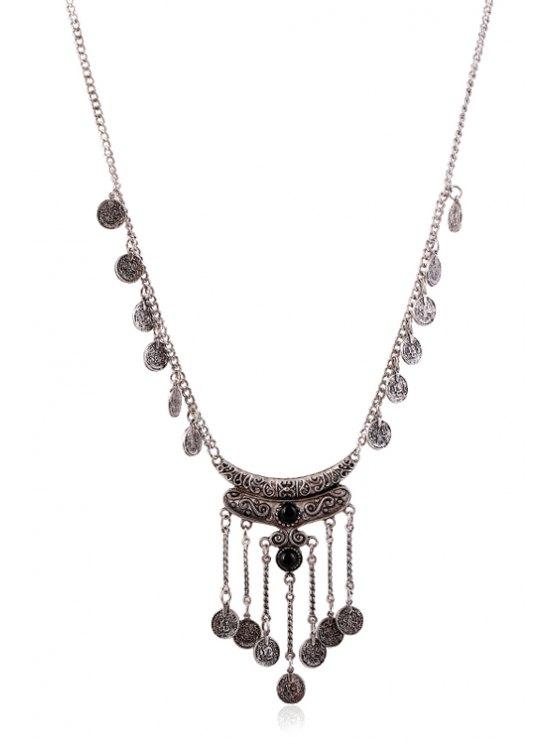 Crescent Coin Fringed Necklace - BLACK  Mobile